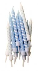 12 Blue Patterned Candles